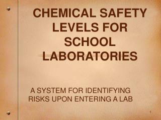 CHEMICAL SAFETY LEVELS FOR SCHOOL LABORATORIES