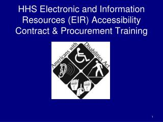 HHS Electronic and Information Resources EIR Accessibility  Contract  Procurement Training