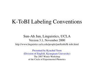 K-ToBI Labeling Conventions
