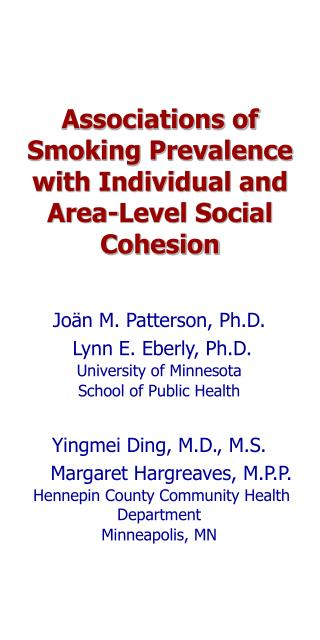Associations of Smoking Prevalence with Individual and Area-Level Social Cohesion
