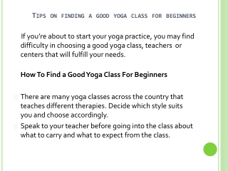 Tips On Finding Yoga Class For Beginners