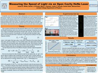 Measuring the Speed of Light via an Open Cavity HeNe Laser  James D. White, Daniel J. D Orazio, Mark J. Pearson, Justin