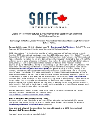 Global TV Toronto Features SAFE International Scarborough Wo