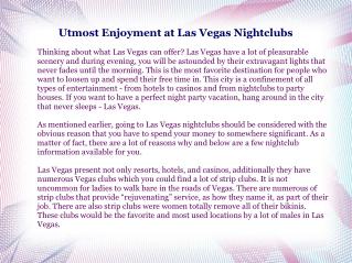 Utmost Enjoyment at Las Vegas Nightclubs