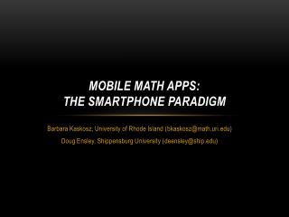 Mobile Math Apps:  The Smartphone Paradigm