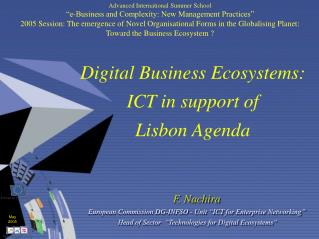 Digital Business Ecosystems: ICT in support of  Lisbon Agenda