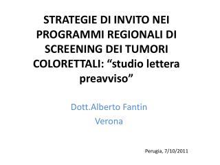 STRATEGIE DI INVITO NEI PROGRAMMI REGIONALI DI SCREENING DEI TUMORI COLORETTALI:  studio lettera preavviso