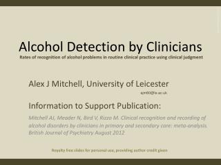 Alcohol Detection by Clinicians