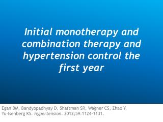 Initial monotherapy and combination therapy and hypertension control the first year