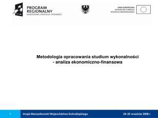 Metodologia opracowania studium wykonalnosci  - analiza ekonomiczno-finansowa
