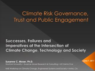 Climate Risk Governance, Trust and Public Engagement