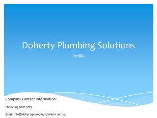 Doherty Plumbing Solutions Melbourne
