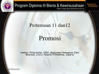 Pertemuan 11 dan12  Promosi