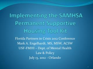 Implementing the SAMHSA Permanent Supportive Housing Tool Kit