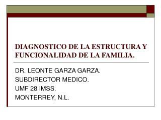 DIAGNOSTICO DE LA ESTRUCTURA Y FUNCIONALIDAD DE LA FAMILIA.