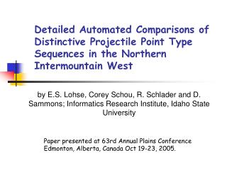 Detailed Automated Comparisons of Distinctive Projectile Point Type Sequences in the Northern Intermountain West