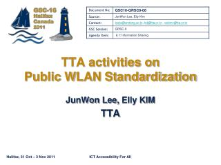 TTA activities on  Public WLAN Standardization