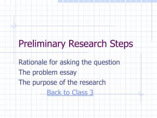 Preliminary Research Steps