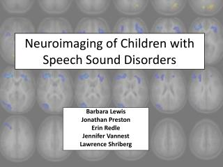Neuroimaging of Children with Speech Sound Disorders
