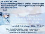 Manejo da hipotens o e do baixo fluxo sangu neo no neonato de muito baixo peso durante a primeira semana de vida