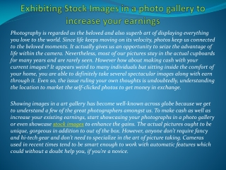 Exhibiting Stock Images in a photo gallery to increase your