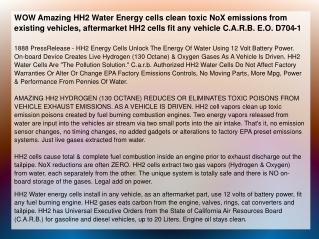WOW Amazing HH2 Water Energy cells clean toxic NoX emissions