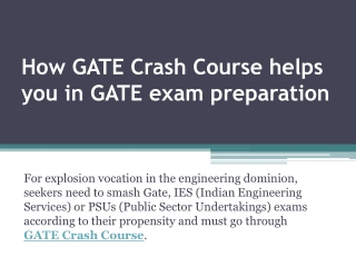 How GATE Crash Course helps you in GATE exam preparation