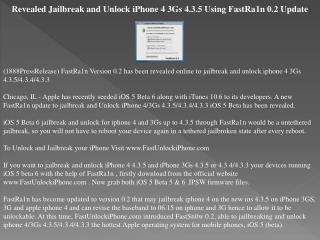 revealed jailbreak and unlock iphone 4 3gs 4.3.5 using fastr