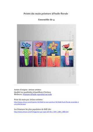 Peints à la main peinture à l'huile florale -- Artisoo