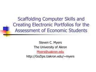 Scaffolding Computer Skills and Creating Electronic Portfolios for the Assessment of Economic Students