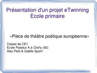 Pr sentation dun projet eTwinning Ecole primaire