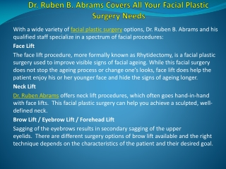 Ruben B. Abrams Covers All Your Facial Plastic Surgery Needs