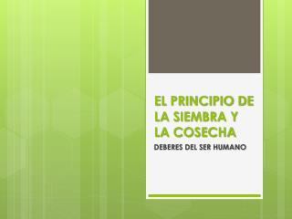 EL PRINCIPIO DE LA SIEMBRA Y LA COSECHA