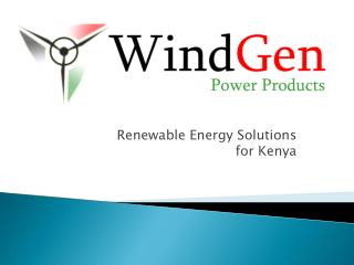 Renewable Energy Solutions  for Kenya