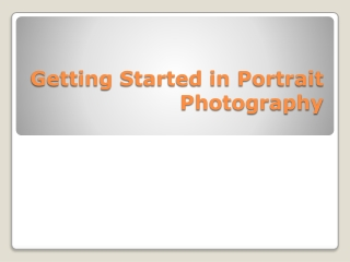 Getting started in portrait photography