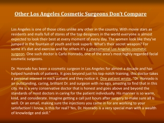 Other Los Angeles Cosmetic Surgeons Don't Compare