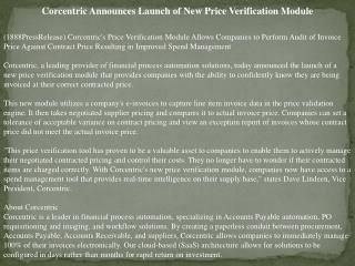 corcentric announces launch of new price verification modul