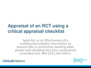 Appraisal of an RCT using a critical appraisal checklist