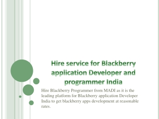 Best solutions for your Blackberry App Developer India needs