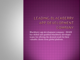 Right place to hire Blackberry Application Developer