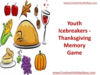 Youth Icebreakers - Thanksgiving Memory Game