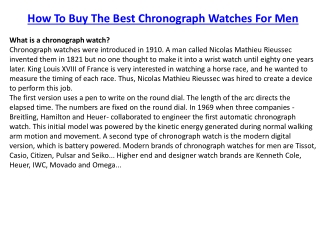 how to chose the best chronograph watches for men