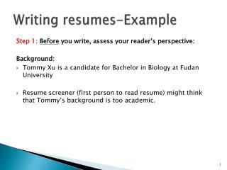 Writing resumes-Example