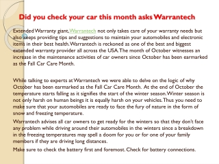 Did you check your car this month asks Warrantech