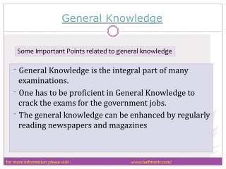 All you wanted to know about general knowledge preparation.