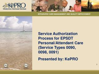 Service Authorization Process for EPSDT Personal