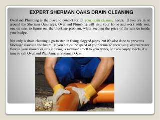 EXPERT SHERMAN OAKS DRAIN CLEANING