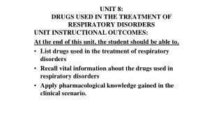 DRUG THERAPY OF PULMONARY PHARMACOLOGY IV ASTHMA  COPD PART 1 PHARMACOLOGY OF BRONCODILATORS