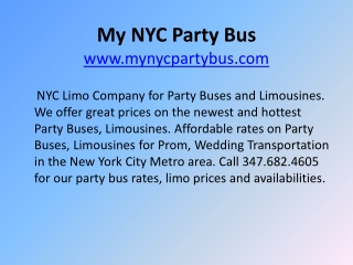 NYC Party Buses, Limo Buses, Party Bus Rentals in NYC