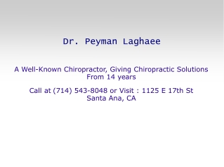 Peyman laghaee has years of professional chiropractic experience